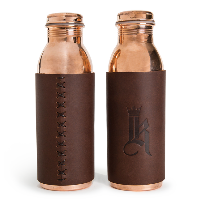 Sundance Leather Wrapped Copper Water Bottle