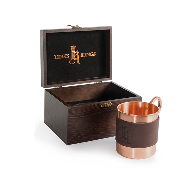 Sundance Leather Wrapped Single Copper Mug-Wood Gift Box