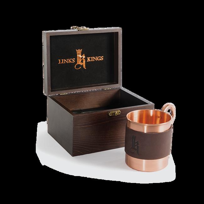 Sundance Leather Wrapped Single Copper Mug-Wood Gift Box